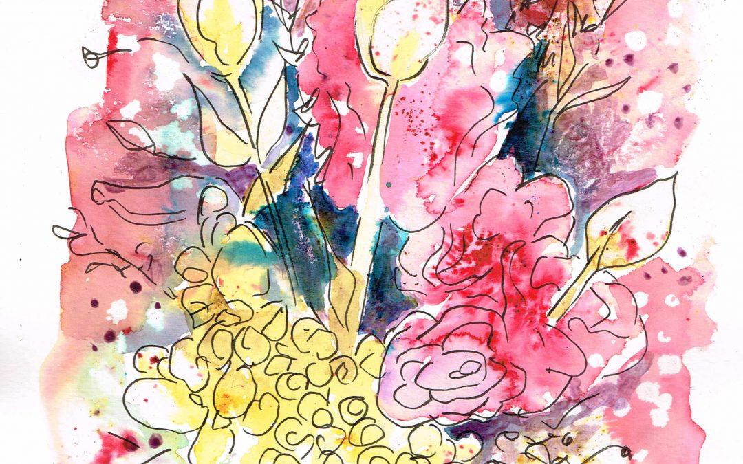 Flower Bouquet in Brusho