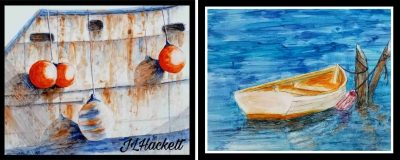 Alcohol Ink Boats