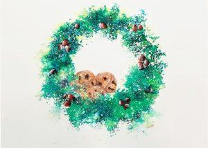 Holiday Brusho Wreath Greeting Card