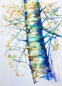 Birch Tree using a Palette Knife