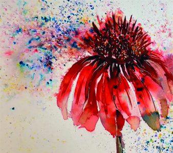 Brusho Red Flower